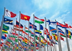 The unfurling of the flag of each country